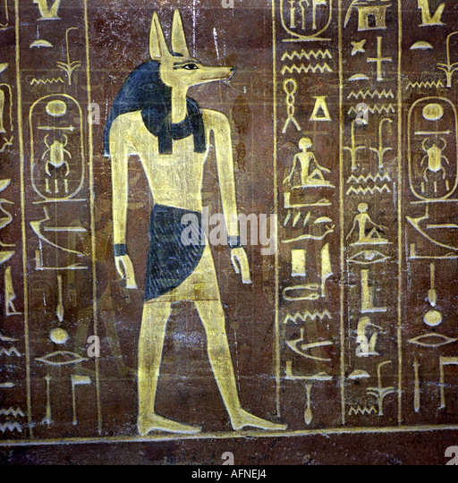 Anubis ancient egypt stock photos anubis ancient egypt for Egypt mural painting