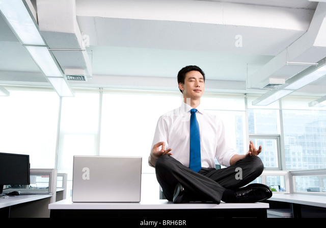 Meditation In The Office   Stock Image