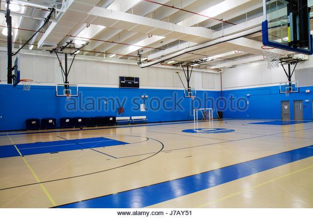 miami beach florida scott rakow community center gymnasium indoor basketball court empty stock image