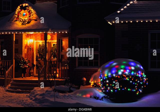 Christmas Snow Trees Night Lights Stock Photos Amp Christmas