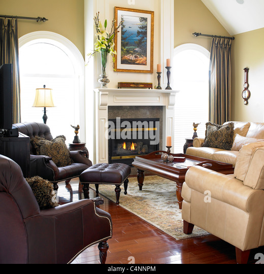 Elegant living room with fireplace stock photos elegant for Modern living room furniture vancouver