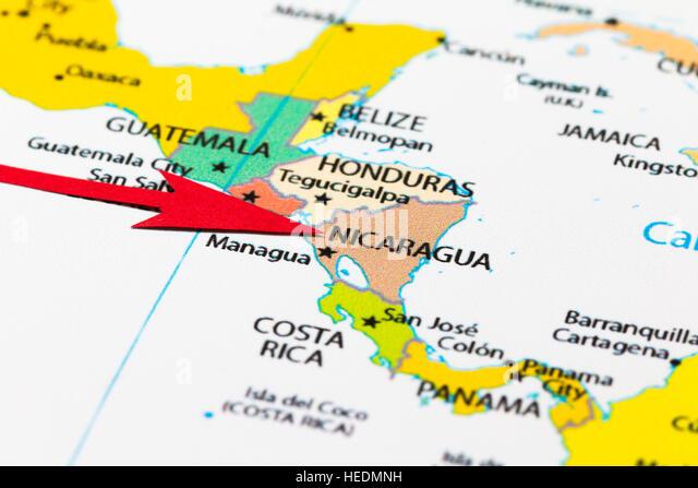 Nicaragua Map Stock Photos Nicaragua Map Stock Images Alamy - Nicaragua map hd