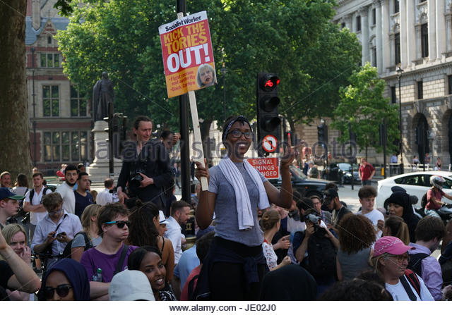 London, UK. 21st June, 2017. The Day of Rage protest reaches Parliament Square in London on June 21, 2017. The demonstration, - Stock Image