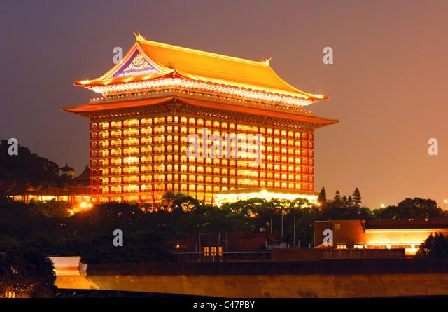 Hotel Lit Up At Night Grand Taipei Taiwan