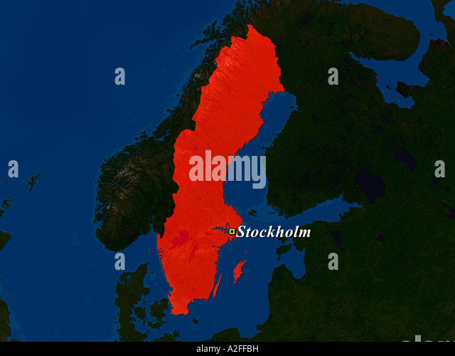 Satellite View Of Stockholm Map Stock Photos Satellite View Of - Sweden map satellite