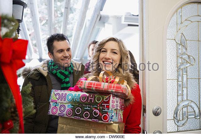 Front door open christmas stock photos front door open for House friend door