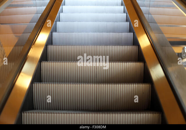 Moving Staircase To The Next Floorin The City Mall   Stock Image