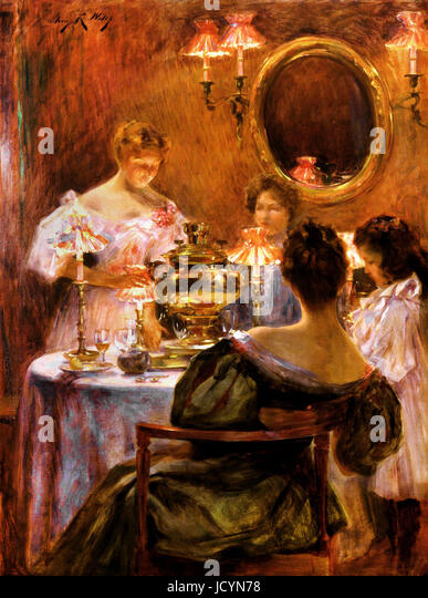 Irving R. Wiles, Russian Tea Circa 1896. Oil on canvas. Smithsonian American Art Museum, Washington, D.C., USA. - Stock Image