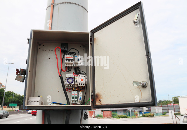 safety fuse box that has been illegally brake open d8ng2d electricity fuse box stock photos & electricity fuse box stock open fuse box for ford expedition at edmiracle.co
