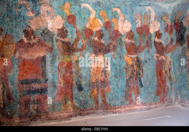 Bonampak murals stock photos bonampak murals stock for Bonampak mural painting