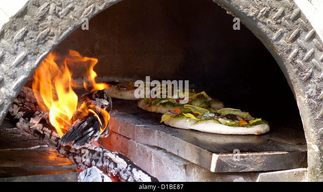 wood fired pizza oven stock image