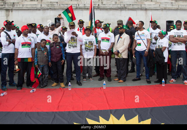 Biafra flag stock photos biafra flag stock images alamy biafran rally in london in protest at thecheapjerseys Image collections