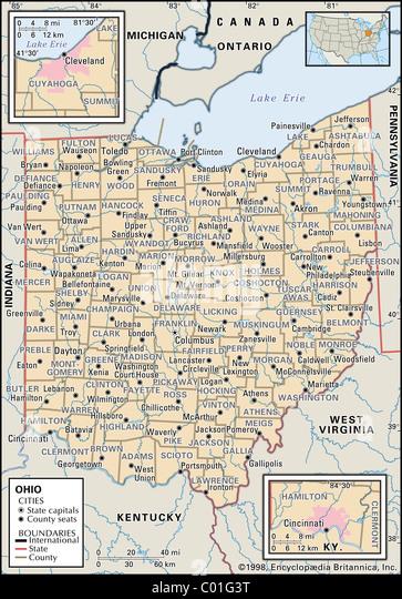 Ohio Map Stock Photos Ohio Map Stock Images Alamy - Map of ohio with cities