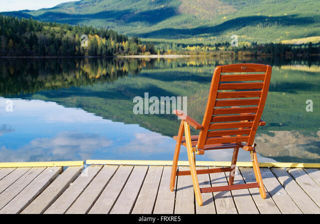 Deck Chair On A Boat Dock In Front Of A Lake, Patricia Lake, Jasper