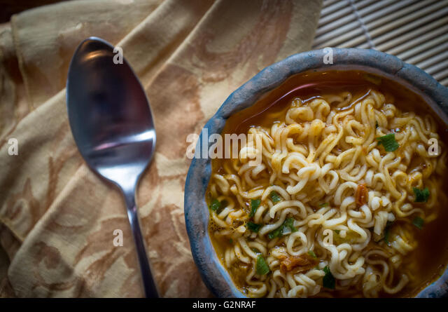 Simple Korean Spicy Ramen Noodles In Red Broth Stock Image