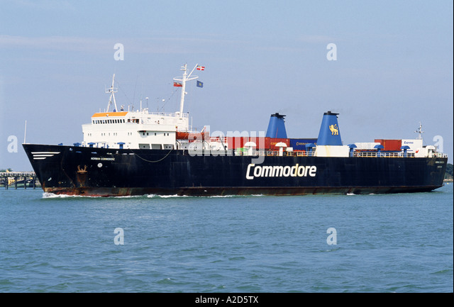 SMALL CONTAINER SHIP. ENGLAND. UK - Stock Image