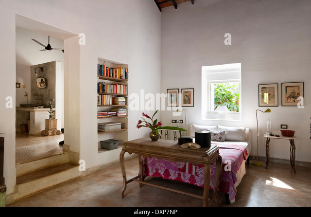 Open Plan Bedroom Interior With Recessed Shelving In The Indian State Of Goa