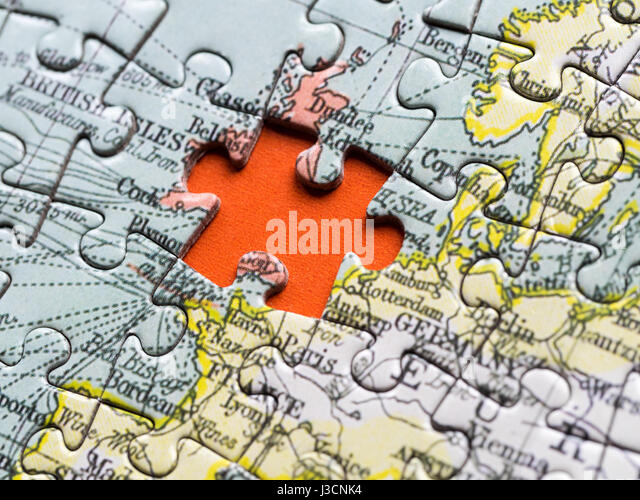 Uk map jigsaw stock photos uk map jigsaw stock images alamy brexit uk jigsaw piece missing from map of europe stock image gumiabroncs Images