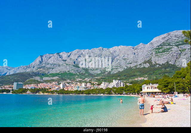 Plaza Donja Luka, the main beach, Makarska, Dalmatia, Croatia - Stock Image