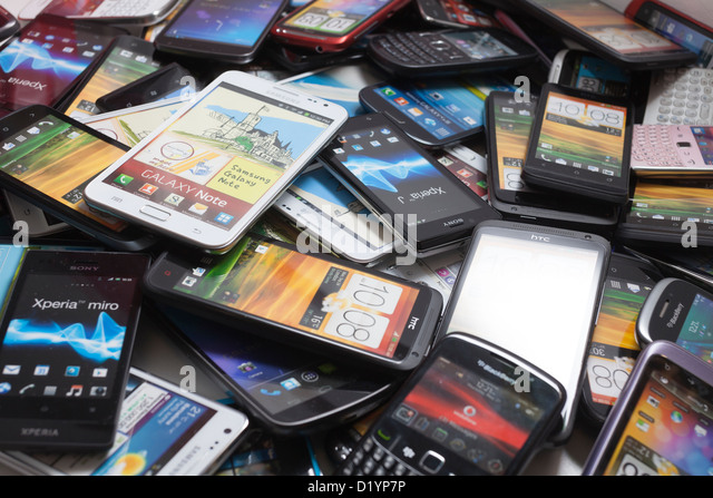 Pile Of Cell Phones : Mobile phones stock photos images