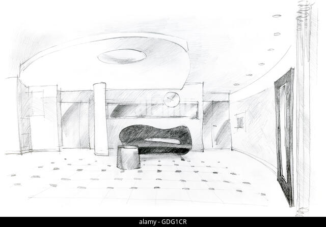 Freehand monochrome drawing hall design stock photos for Drawing hall interior decoration