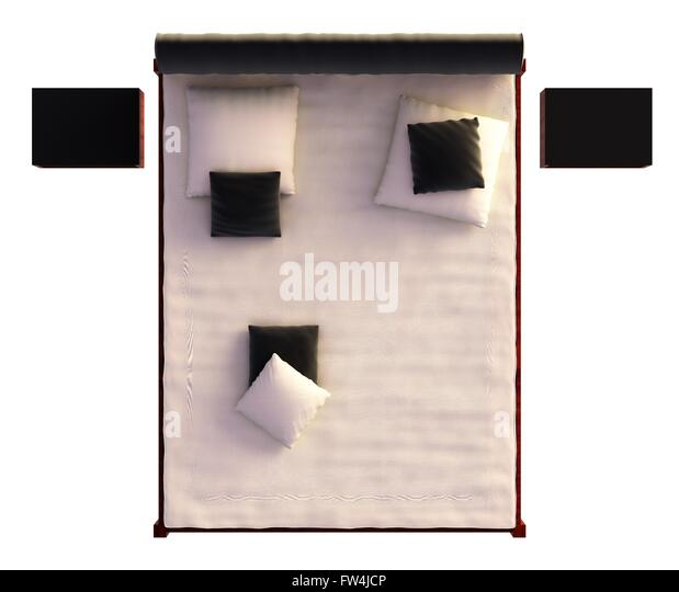double bed top view. 3D Rendering Bed Top View Isolated On White - Stock Image Double E