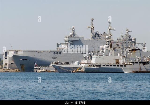 french navy toulon naval base mistral amphibious assault ship stock image