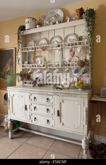 kitchen dresser in home of writer laetitia maklouf london uk stock image - Kitchen Dresser