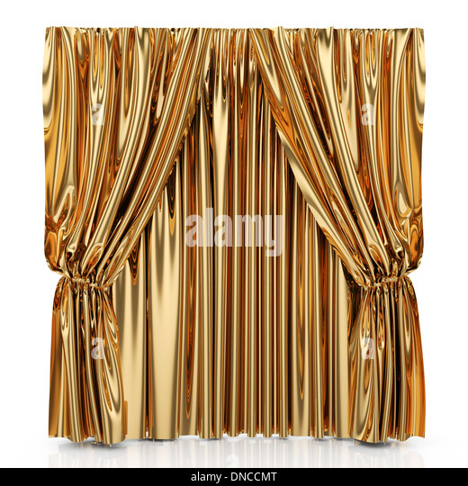 3d Render Of Golden Curtains Isolated At White Background