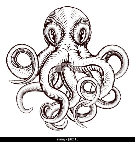 An Original Illustration Of Octopus In A Dynamic Woodblock Style