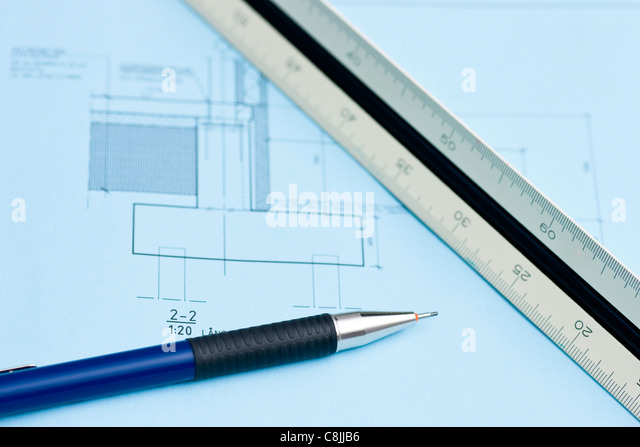 Build house draw blueprint stock photos build house draw construction blueprint stock image malvernweather Image collections