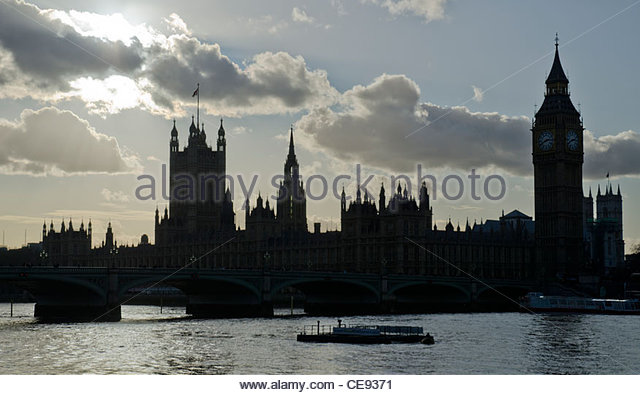 Palace Of Westminster On The River Thames In London Silhouette City