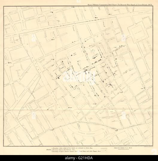 cholera and dr john snow John snow's well known cholera map is often cited as one of the earliest known examples of using geographic inquiry to understand a health epidemic starting on august 31, 1854, an outbreak of cholera hit the london district called soho over the course of three days, 127 people died from the disease.