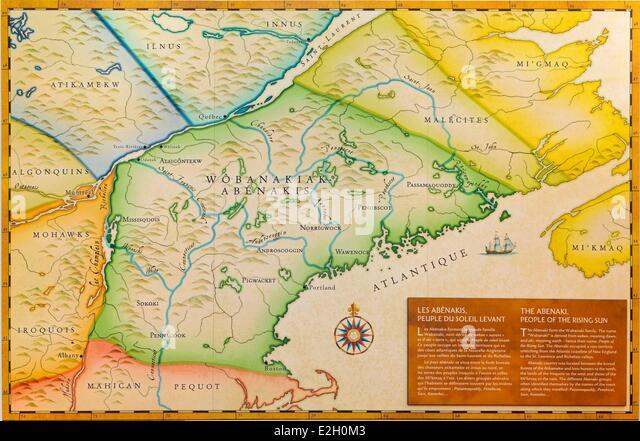 Canada Quebec Province Centre Du Quebec Region Odanak Abenaki Indian Reserve Museum Old Map Stock