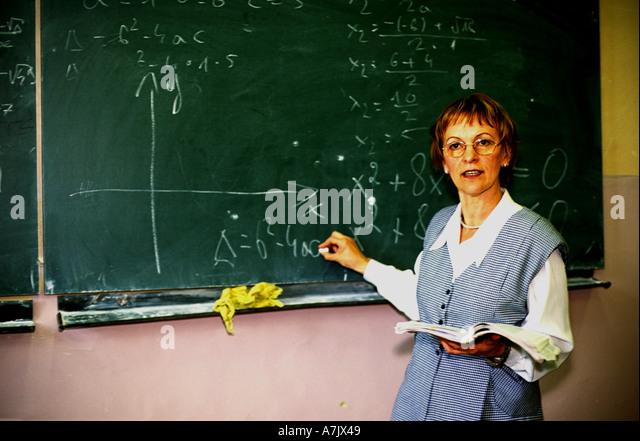 Head teacher giving a lesson at a school in Krakow Poland - Stock ...
