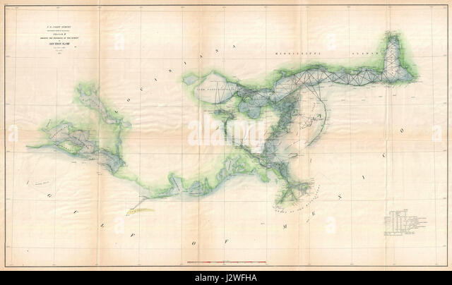 1873 U S Coast Survey Map Of The Delta Of The Mississippi River Geographicus Gulfcoast