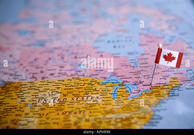 Canada map atlas map world stock photos canada map atlas map world flag pin placed on world map in the capital of canada ottawa stock image gumiabroncs Choice Image