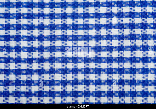 Blue Gingham Or Checked Tablecloth Background   Stock Image