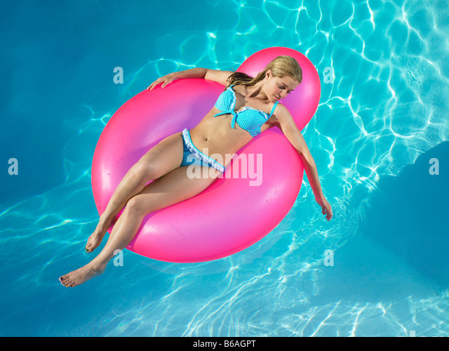Girl In Inflatable Chair Pool