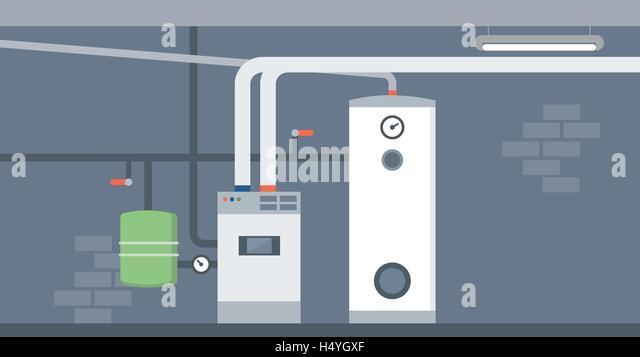 Boiler In The Home Basement, Modern Energy Saving Heating System   Stock  Image