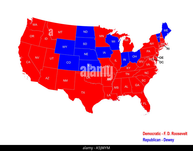 united states presidential election results map for 1944 stock image