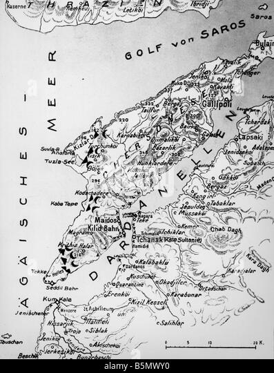 World War 1 Map Black And White. 9TK 1915 4 25 F1 1 Battle at Gallipoli Map World War in Black and White Stock Photos  Images Alamy