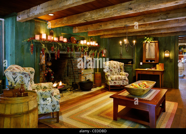 The Living Room In A Colonial Style Reproduction Home   Stock Image