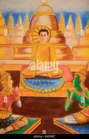 Ceiling Artwork Depicting the Life of Buddha. Wat Si Sou Mang Karam Temple. Vieng Vang. Laos. - Stock Image