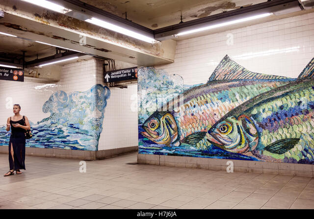 Mural on street ny stock photos mural on street ny stock for Crossing the shallows tile mural