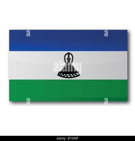 africa, kingdom, lesotho, social, africa, flag, border, button, card, area, - Stock Image