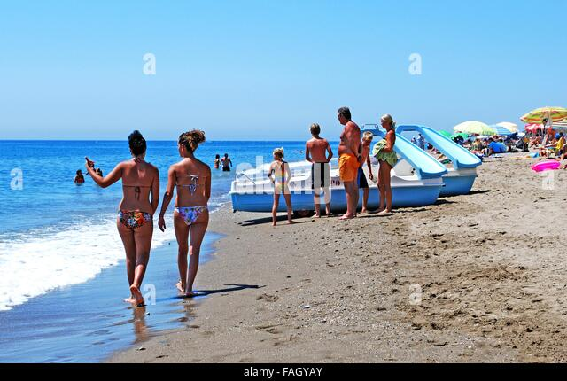 People Relaxing On The Beach Fuengirola Malaga Province Andalusia Spain Western
