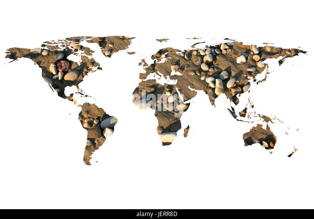 isolated flat world map and stones. NASA flat world map image is used to furnish this image. - Stock Image