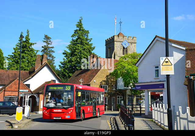 Bus turning into Sharp s Lane  Ruislip  London Borough of Hillingdon   Greater London. Ruislip High Street Stock Photos   Ruislip High Street Stock