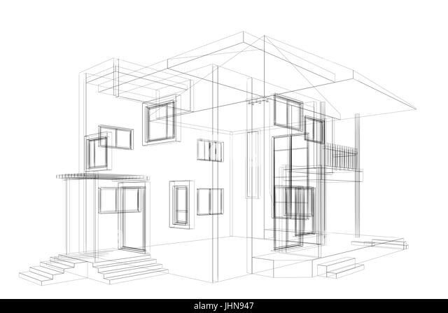 Cottage windows black and white stock photos images alamy cottage blueprint 3d construction stock image malvernweather Image collections